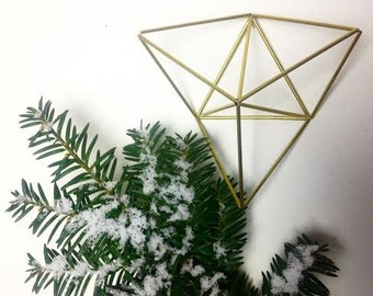 Three Triangles - Geometric air plant wall hanger - Brass Planter