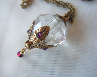 Crystal Diamond And Brass Essential Oil / Perfume Bottle Necklace