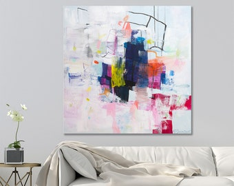 ABSTRACT PAINTING on Canvas Original Contemporary Art Large Abstract art Colorful Modern Painting 32x32 by Duealberi