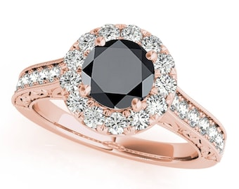 1.50 Ct. Halo Black Diamond Engagement Wedding Ring In 14k Gold
