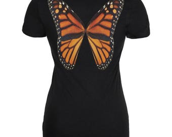 Monarch Butterfly Wings Costume Black Juniors Soft T-Shirt