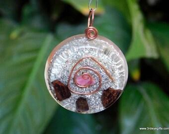 Ruby Orgone Pendant, Protection Amulet, Orgone Pendant, July Birthstone, Ruby Jewelry, Tourmaline Pendant, Healing Amulet ~479