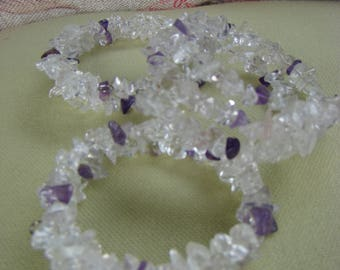 Gemstone (memory wire) Bracelet Amethyst and Clear Quartz, Crystal Healing Bracelet