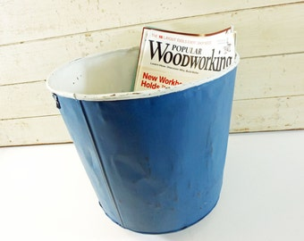 Large Vintage Metal Sap Bucket Painted Blue and White