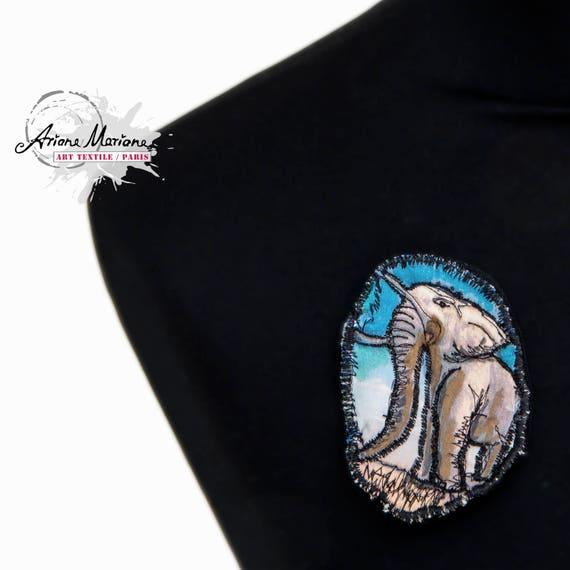 Animal Art Pin - Elefant Brooch - Closing System Vests, Cardigans