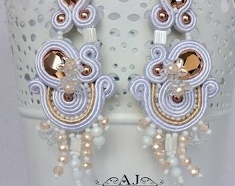 Soutache Earrings White RoseGold, Long Soutache Earrings, Soutache Earrings