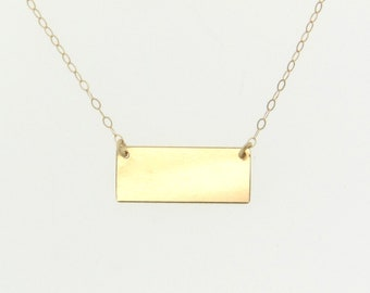 Nameplate Necklace, Can Be Engraved, 14K Gold Small Rectangle Name Plate, Yellow Gold or White Gold