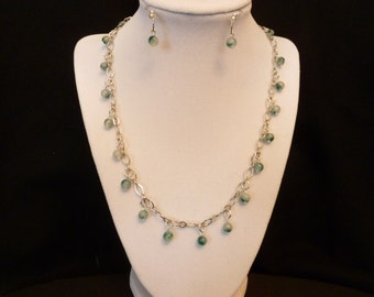Turquoise Bead and Chain Necklace Set