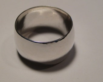 Gently Domed Sterling Silver  band  ....  12mm wide   ...........     made to order in your size .....