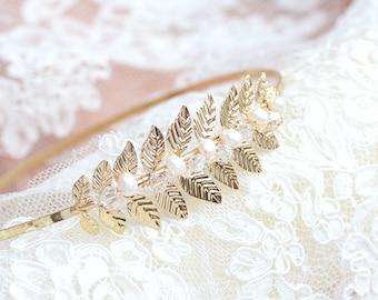 Wedding headband - Olivia - Bridal headpieces - bridal headband - Leaf headband - Swarovski Element - bridal hair headband-French