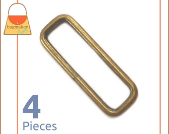 "2 Inch Rectangular Wire Loops / Rings, Antique Brass / Bronze Finish, 4 Pieces, Purse Handbag Bag Making Hardware, 2"" Rectangle, RNG-AA211"