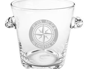 Custom Coordinates Compass Rose Scroll Handle Ice Bucket, Latitude Longitude Glassware
