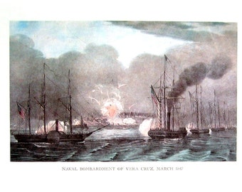 Currier and Ives Print - Naval Bombardment of Vera Cruz, Colonel Harvey at the Dragoon Fight at Medelin - 1968 Vintage Book Page - 12 x 9