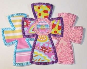 3 Crosses - Raggedy Edge - Iron On or Sew On Embroidered Appliques
