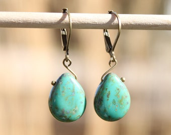 Turquoise Earrings Jewelry Dangle Earrings Drop Earrings Czech Earrings Small Earrings Birthday Gift for her Gift for women