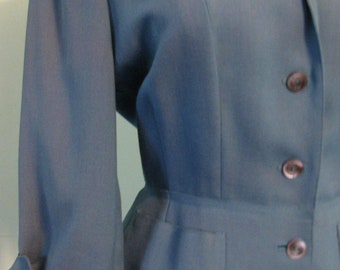 1940s Suit Blue Ladies Sacony Palm Beach
