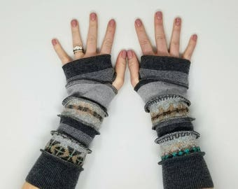 Ooak Upcycled clothing, Arm warmers, ooak gloves, texting, half finger gloves, upcycled sweaters, knit fingerless gloves, bohemian glove