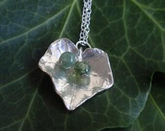 Sterling silver leaf necklace with ivy leaf, moss agate green gemstones, gardener gift sterling silver necklace