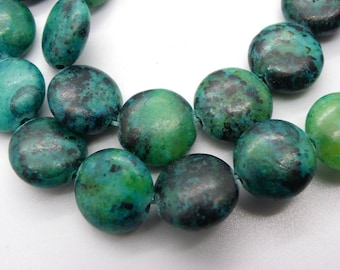 10 round 12 mm natural stone with a beautiful green chrysocolla stones