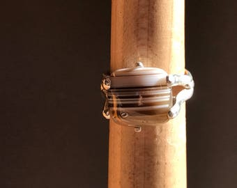 Pinstripe Agate and Sterling Silver Statement Ring