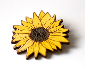 Wooden Sunflower Brooch