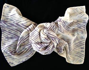 Close Out Closet Sale - Absent - Arashi Shibori Hand Dyed Crepe de Chine Silk Scarf, Short Silk Scarf, Cream/Charcoal Gray Silk Scarf