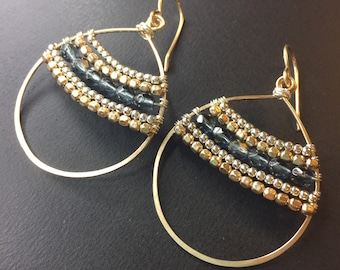 Hoop Earrings - 14k Gold Fill Wrapped Earrings - Mixed Metal Earrings - Blue/Grey Crystal Earrings