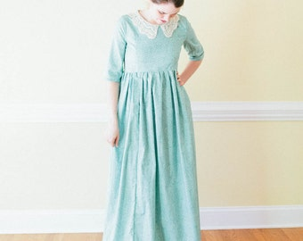 Lace collar High Waist Dress - Empire waist Dress - pride and prejudice Made to Measure prairie Dress - regency Mennonite reenactment dr