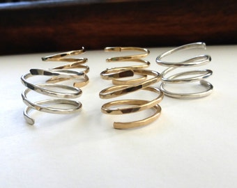 Hammered Gold or Silver Ring, Gold Spiral Ring, Wire wrapped Ring, Hammered Silver Wrap Ring, Modern Gold Ring, Spiral Ring by m. frances