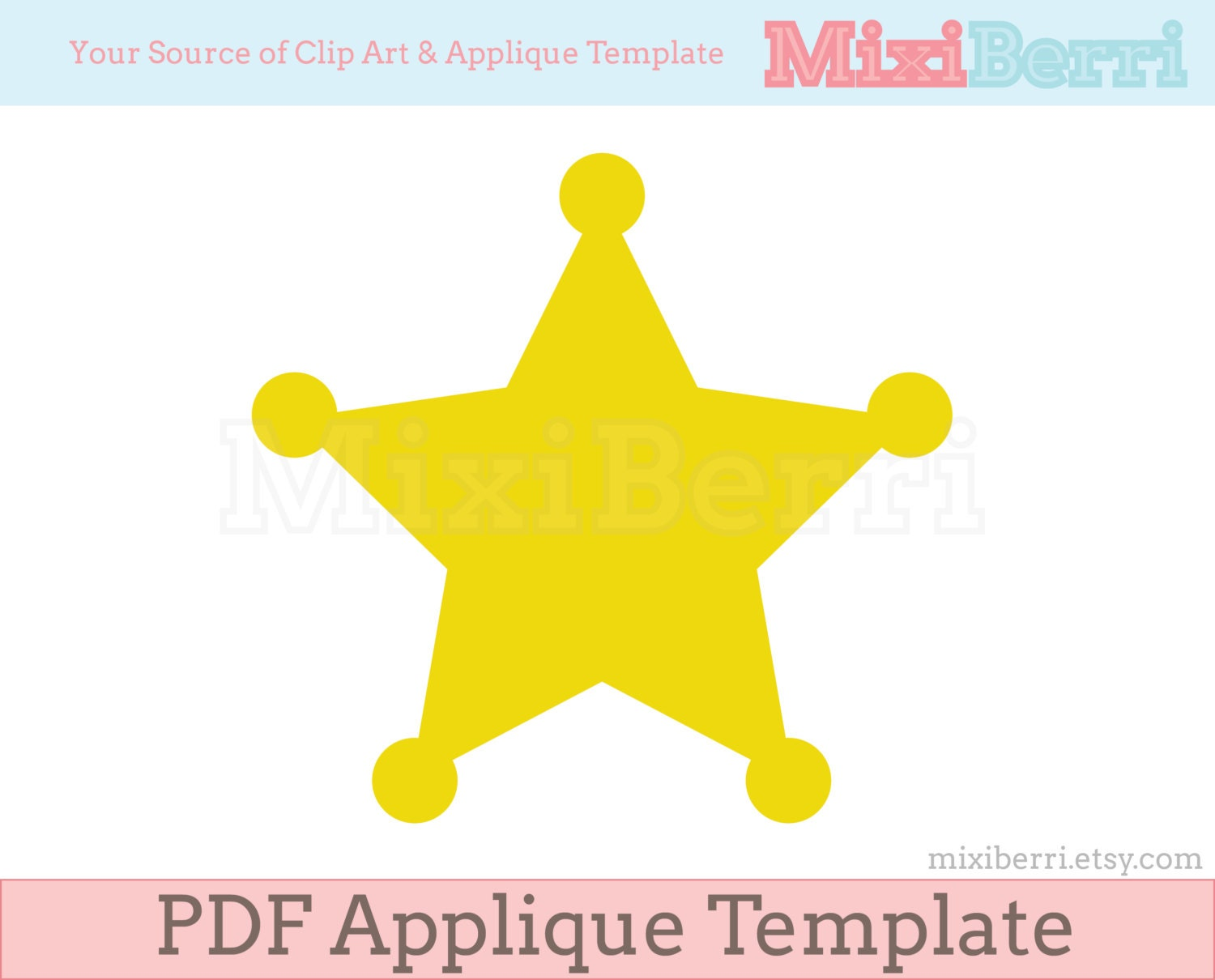 Sheriff Star Badge Applique Template PDF Instant Download