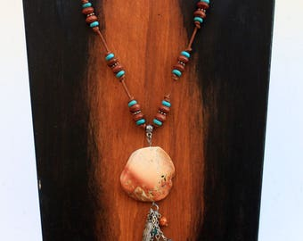 Turquoise Leather Necklace, Southwestern Jewelry, Turquoise Jewelry