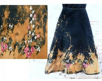 Festival skirt women - cotton summer skirt -Midi Folk Skirt - embroidered skirt women - acid wash skirt -one of a kind skirt women -    #22