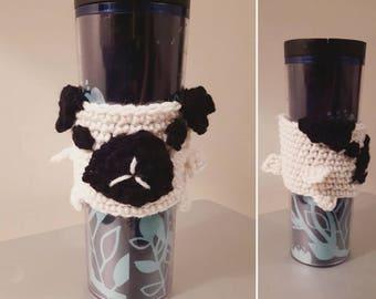 Pug-tastic Crochet Coffee / Tea Cup Cozy