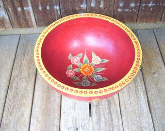 Large Cranberry Red Wood Bowl Hand Painted Wood Bowl Made In India Bohemian Decor