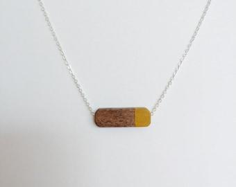 Modern Geometric Wood Bead Necklace mustard yellow