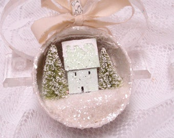 Shabby Chic Mint Green Tea Cup Ornament Putz House