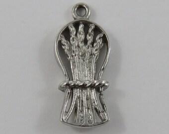 Sheaf of Wheat Sterling Silver Vintage Charm For Bracelet