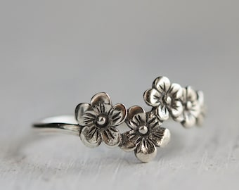 Silver Cherry Blossom Ring, Flower Ring,  Sterling Silver jewelry