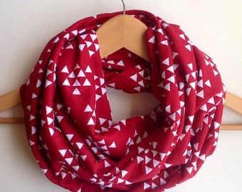 Womens infinity scarf red snood loop scarf double loop scarf Mother's Day gift