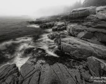 Acadia National Park Landscape Photograph, Maine, Rocky Coast, Black and White Photography, Fog, Atlantic Ocean, Bar Harbor, Monochrome Art