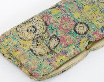 SALE 1920's - 1930's Authentic Art Deco Vintage Pure Silk Abstract Floral Metallic Lame Wallet Clutch