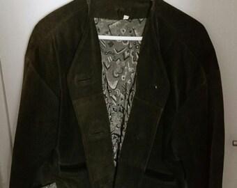 Vintage Olive Green Suede Jacket
