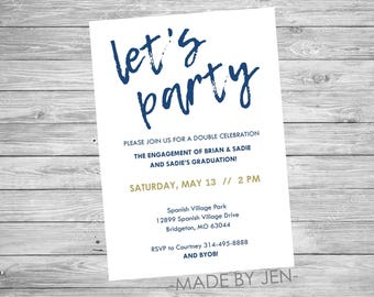 Generic Invitation, Let's Party Invitation 5x7 or CUSTOM