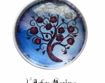 2 cabochons craft tree 3 glass 20 MM N8