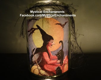 Halloween Luminary Witch Candle Holder Vintage style Witch with Black Cat