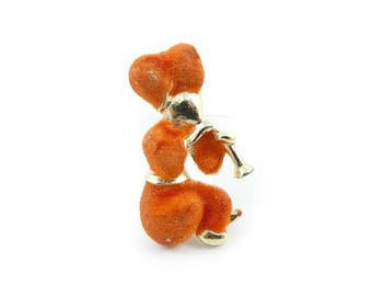 Vintage Snake Charmer Brooch, Fuzzy Orange