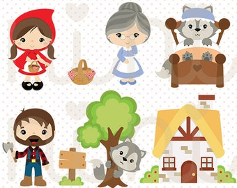50% OFF Little Red Riding Hood vector, Wolf clipart - Commercial use -  C020