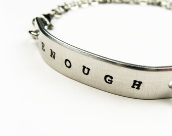 Bar Bracelet - ID Bracelet for Men, Women with Personal Mantra or Motto (Enough or Your Word) - Inspirational Jewelry