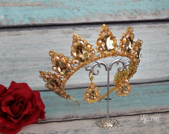 Blush Gold Tiara Crystal Bridal Tiara Blush Bridal Jewelry Diadema Blush Wedding Tiara Vintage Gold Tiara  Bridal Jewellery