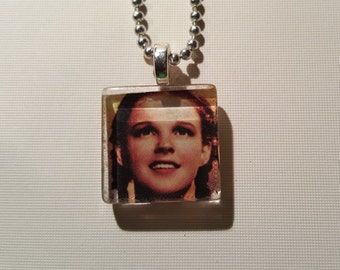 Judy Garland, Wizard of Oz glass tile pendant necklace